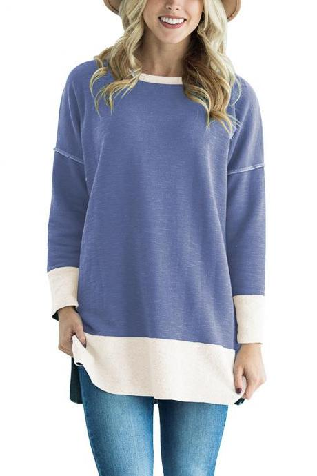 Women Long Sleeve T-Shirt O-Neck Patchwork Spring Autumn Casual Loose Tees Tops sky blue
