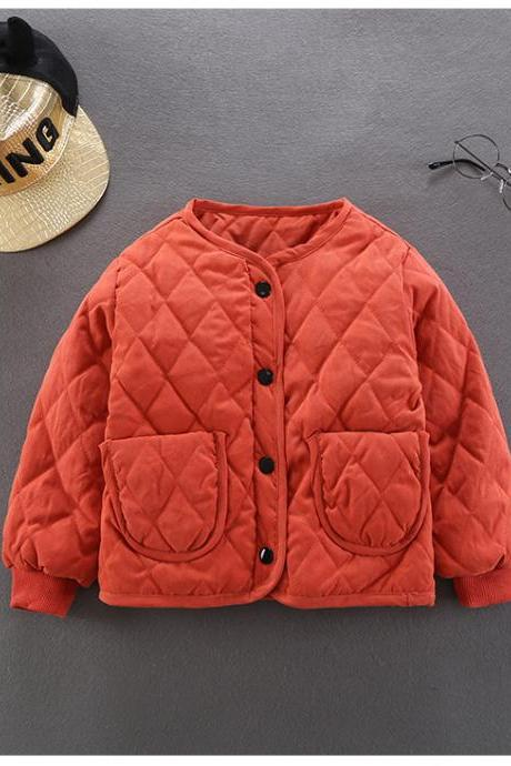Kids Baby Girls Down Cotton Coat Autumn Winter Warm Light Children Liner Jacket Outerwear orange