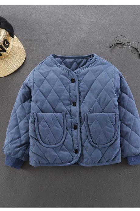 Kids Baby Girls Down Cotton Coat Autumn Winter Warm Light Children Liner Jacket Outerwear blue