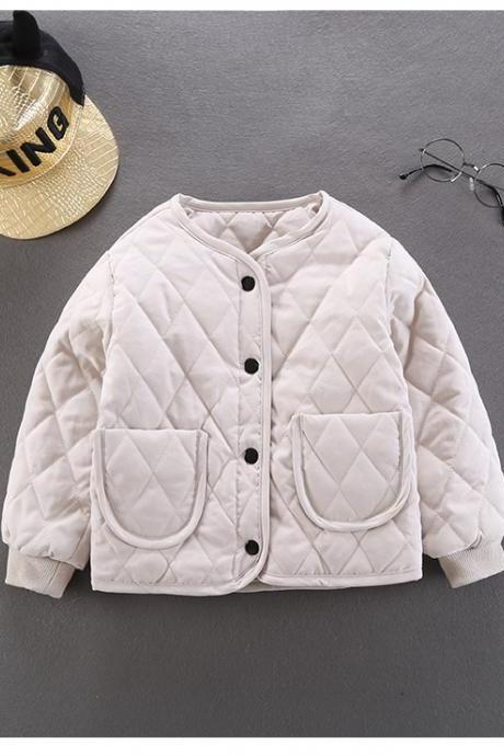 Kids Baby Girls Down Cotton Coat Autumn Winter Warm Light Children Liner Jacket Outerwear ivory