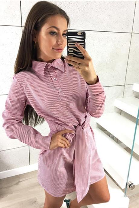 Women Striped Shirt Dress Tie Waist Long Sleeve Casual Slim Plus Size Mini Club Party Dress pink