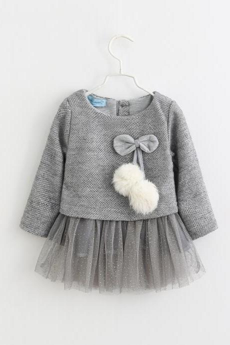Newborn Baby Girl Sweater Dress Knitted Cotton Gilding Long Sleeve Princess Children Clothes gray