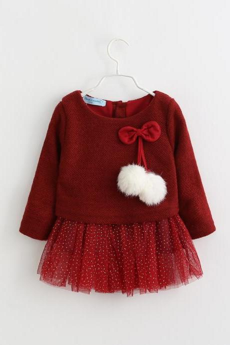 Newborn Baby Girl Sweater Dress Knitted Cotton Gilding Long Sleeve Princess Children Clothes burgundy