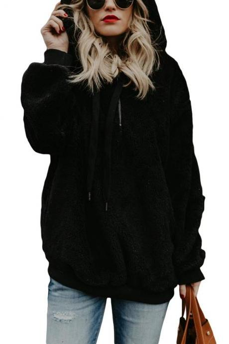 Women Fluffy Hoodies Autumn Winter Warm Casual Long Sleeve Hooded Plus Size Loose Sweatshirts black