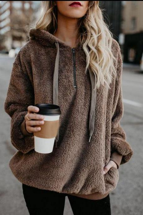 Women Fluffy Hoodies Autumn Winter Warm Casual Long Sleeve Hooded Plus Size Loose Sweatshirts brown