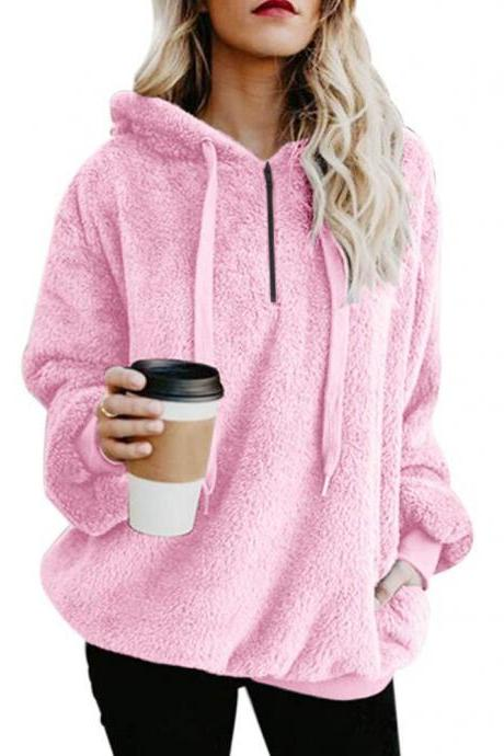 Women Fluffy Hoodies Autumn Winter Warm Casual Long Sleeve Hooded Plus Size Loose Sweatshirts pink