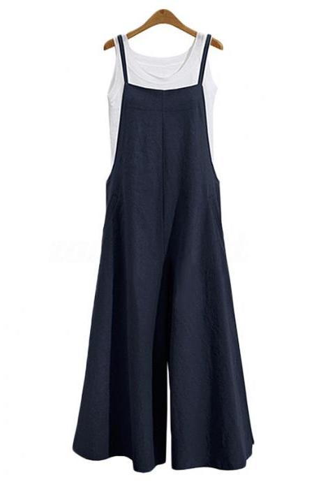 Women Wide Leg Jumpsuit Casual Loose Plus Size Strappy Pockets Long Overalls Pants Rompers navy blue