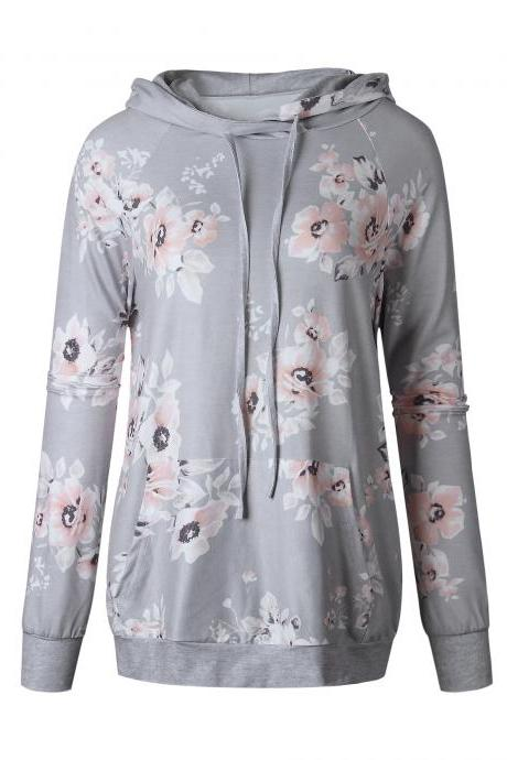 Women Floral Printed Hoodie Autumn Casual Pocket Long Sleeve Hooded Slim Sweatshirts 0552-gray