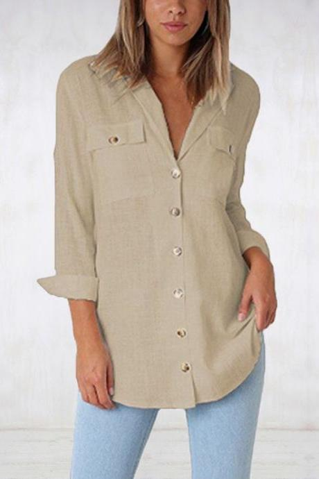 Women Blouse Autumn Spring Long Sleeve V Neck Button Pocket Casual Tops Shirts khaki