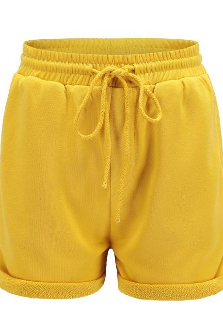 Women Sports Yoga Shorts Workout Fitness Drawstring Waist Running Summer Casual Loose Athletic Shorts yellow
