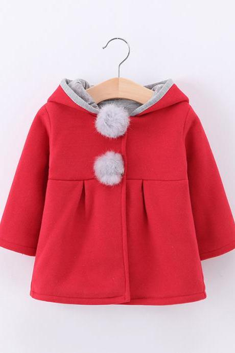 Cute Rabbit Ear Hooded Baby Girls Coat Long Sleeve Kids Children Warm Casual Jacket Outerwear red