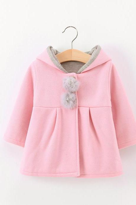 Cute Rabbit Ear Hooded Baby Girls Coat Long Sleeve Kids Children Warm Casual Jacket Outerwear
