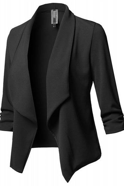Women Suit Coat Casual Long Sleeve Autumn Work Office Business Slim Basic Long Blazer Jacket Outerwear black