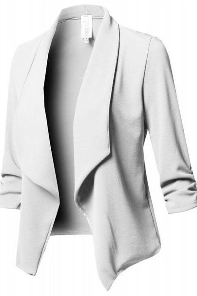 Women Suit Coat Casual Long Sleeve Autumn Work Office Business Slim Basic Long Blazer Jacket Outerwear off white
