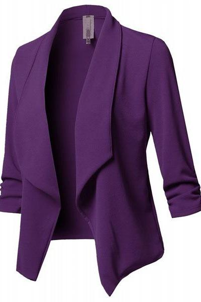 Women Suit Coat Casual Long Sleeve Autumn Work Office Business Slim Basic Long Blazer Jacket Outerwear purple