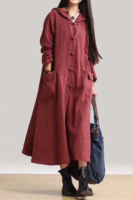utumn Women Maxi Dress Loose V Neck Long Sleeve Hooded Cotton Linen Plus Size Casual Long Dress crimson