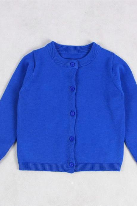 Baby Kids Boys Girls Knitted Cardigan Autumn Winter Buttons Children Sweater Coat Jacket blue