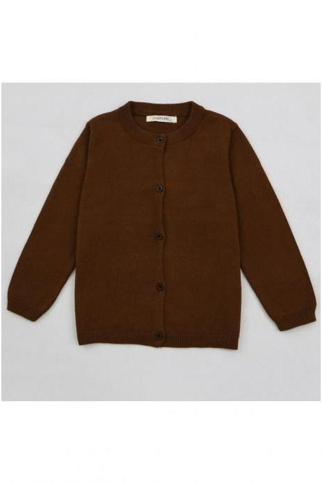 Baby Kids Boys Girls Knitted Cardigan Autumn Winter Buttons Children Sweater Coat Jacket chocolate