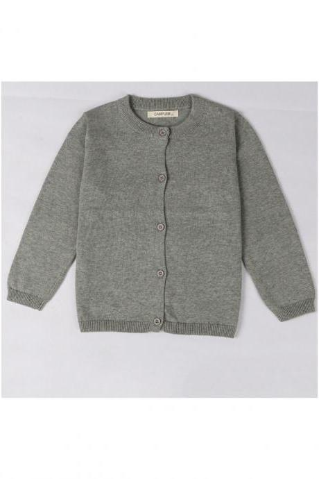 Baby Kids Boys Girls Knitted Cardigan Autumn Winter Buttons Children Sweater Coat Jacket gray