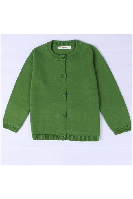 Baby Kids Boys Girls Knitted Cardigan Autumn Winter Buttons Children Sweater Coat Jacket green