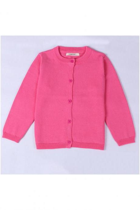 Baby Kids Boys Girls Knitted Cardigan Autumn Winter Buttons Children Sweater Coat Jacket hot pink