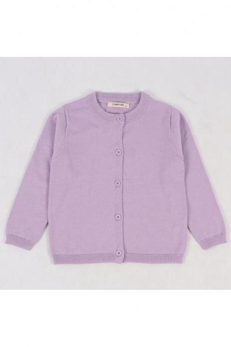 Baby Kids Boys Girls Knitted Cardigan Autumn Winter Buttons Children Sweater Coat Jacket lilac