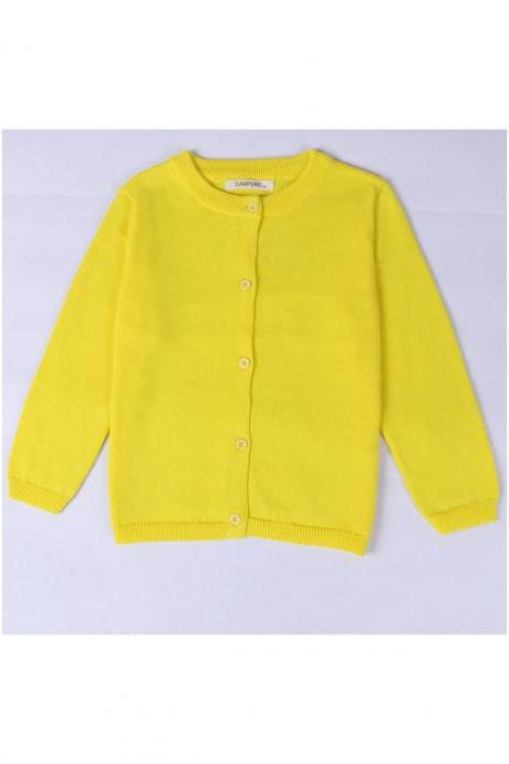 Baby Kids Boys Girls Knitted Cardigan Autumn Winter Buttons Children Sweater Coat Jacket yellow