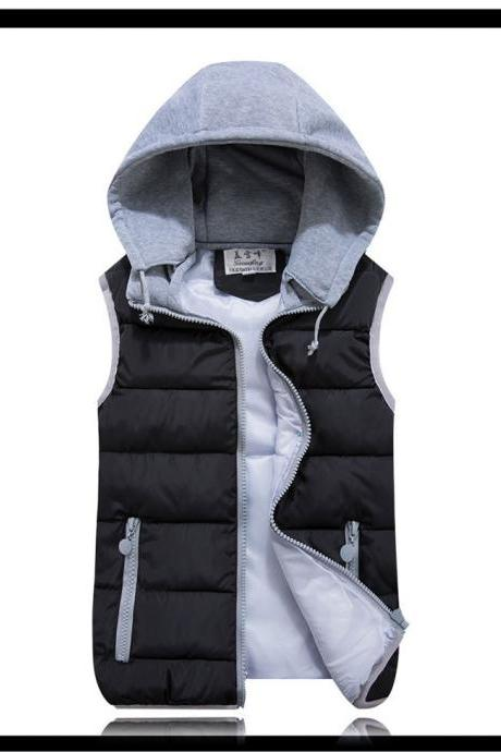 Kids Girls Boys Down Cotton Waistcoat Zipper Winter Warm Thicken Vest Hooded Children Sleevess Coat Jacket black
