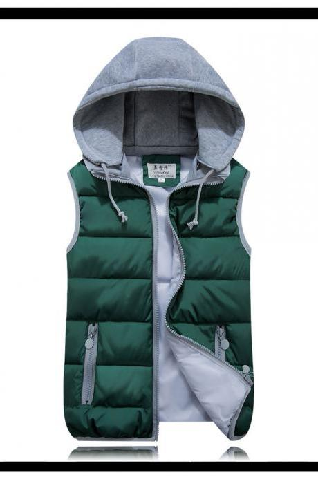 Kids Girls Boys Down Cotton Waistcoat Zipper Winter Warm Thicken Vest Hooded Children Sleevess Coat Jacket hunter green