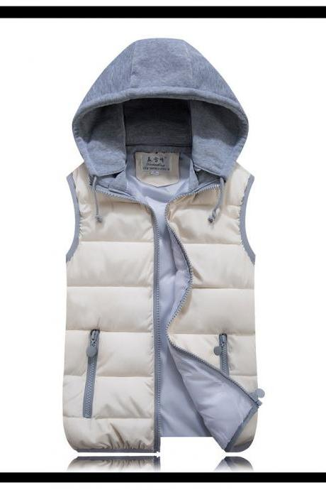 Kids Girls Boys Down Cotton Waistcoat Zipper Winter Warm Thicken Vest Hooded Children Sleevess Coat Jacket ivory