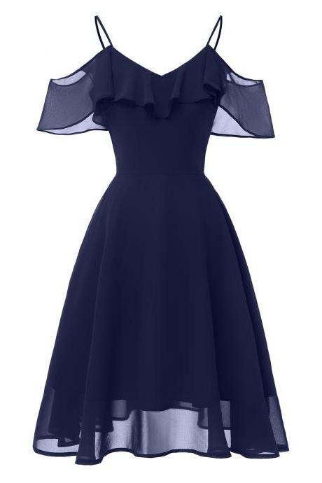 Women Casual Chiffon Dress Ruffles Spaghetti Strap Off the Shoulder Sleeveless A Line Formal Party Dress navy blue