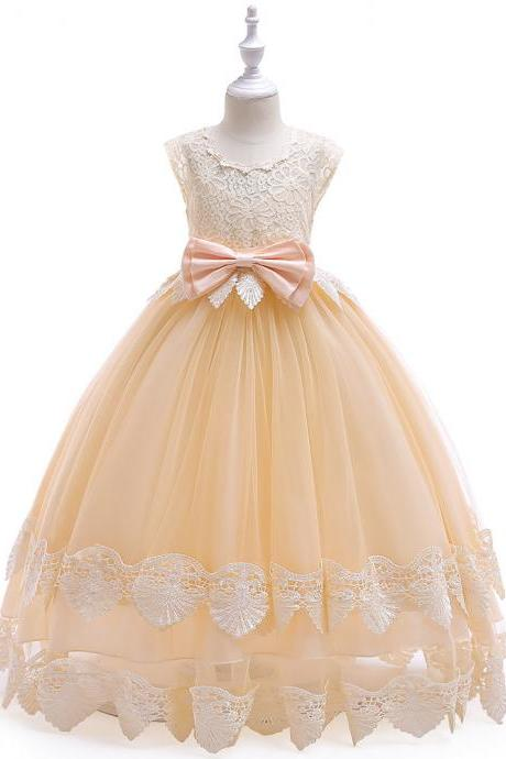 Long Flower Girl Dress Lace Cap Sleeve Princess Teens Wedding Formal Party Tutu Gown Children Clothes champagne