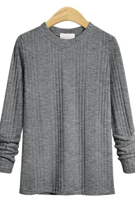 Plus Size Women Knitted Sweater Spring Autumn O Neck Long Sleeve Slim Pullover Tops gray