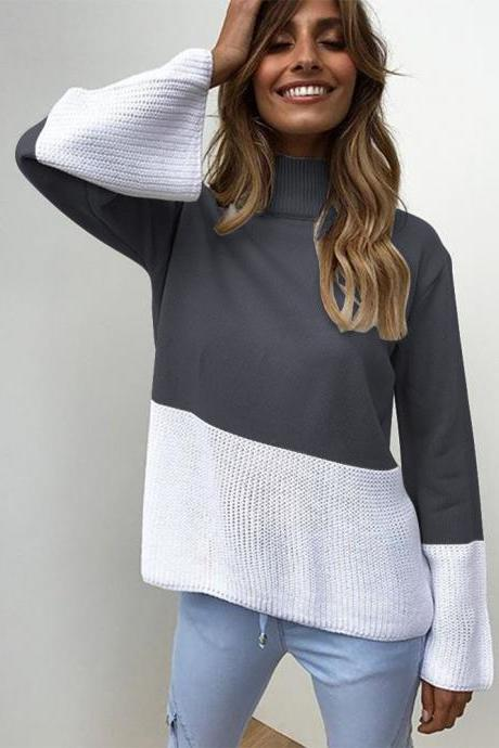 Women Knitted Sweater Autumn Winter Turtleneck Patchwork Casual Loose Long Flare Sleeve Pullover Tops dark gray