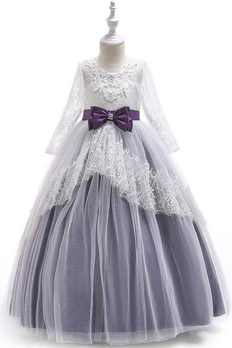 Lace Flower Girl Dress Long Sleeve Princess Teens Wedding Holy Communion Party Gown Children Clothes purple