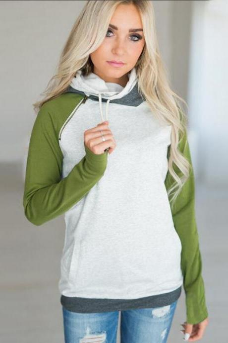 Women Striped Patchwork Hoodie Autumn Winter Casual Pullover Long Sleeve Pockets Hooded Sweatshirt 0597-green