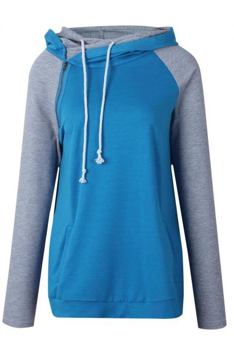 Women Striped Patchwork Hoodie Autumn Winter Casual Pullover Long Sleeve Pockets Hooded Sweatshirt 0604-blue