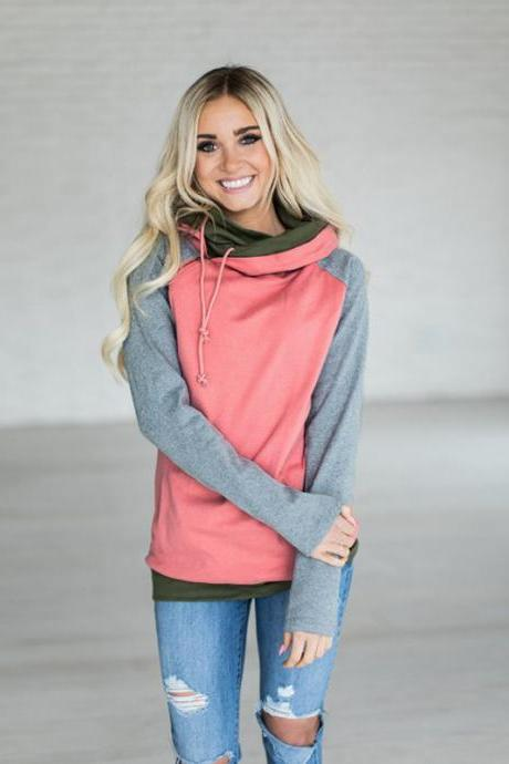 Women Striped Patchwork Hoodie Autumn Winter Casual Pullover Long Sleeve Pockets Hooded Sweatshirt 0623-watermelon red