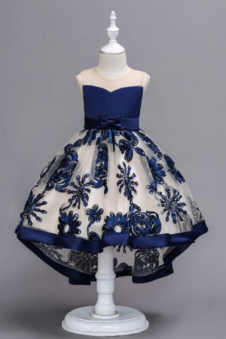 High Low Lace Flower Girl Dress Embroidery Trailing Formal Birthday Party Gown Children Clothes navy blue