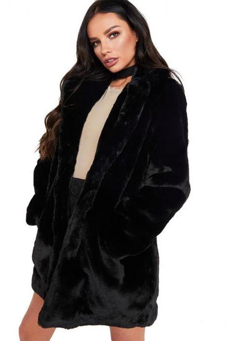 Women Faux Fur Coat Winter Long Sleeve Casual Warm Loose Open Stitch Jacket Cardigan Outwear black