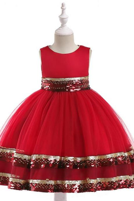 Sequin Flower Girl Dress Sleeveless Princess Birthday Perform Party Ball Gown Children Clothes red