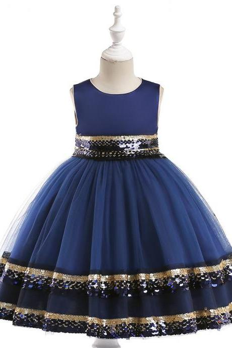 Sequin Flower Girl Dress Sleeveless Princess Birthday Perform Party Ball Gown Children Clothes royal blue
