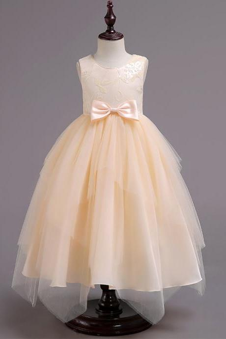 Asymmetrical Flower Girl Dress Sequin Princess Birthday Communion Party Gown Children Clothes champagne