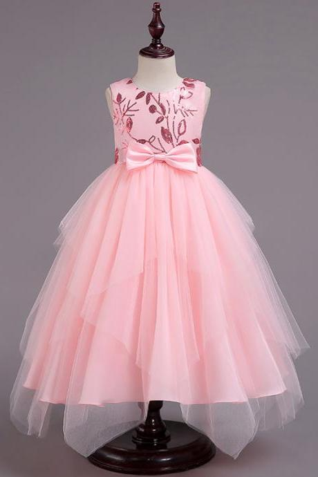 Asymmetrical Flower Girl Dress Sequin Princess Birthday Communion Party Gown Children Clothes pink