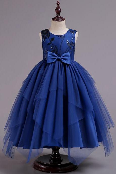 Asymmetrical Flower Girl Dress Sequin Princess Birthday Communion Party Gown Children Clothes royal blue