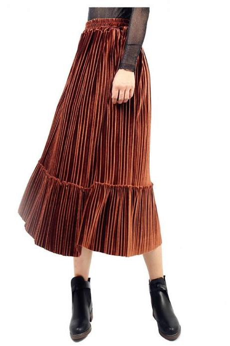 Women Velvet Pleated Skirt Autumn Winter Elastic High Waist Streetwear Below Knee Casual Midi Skirt coffee