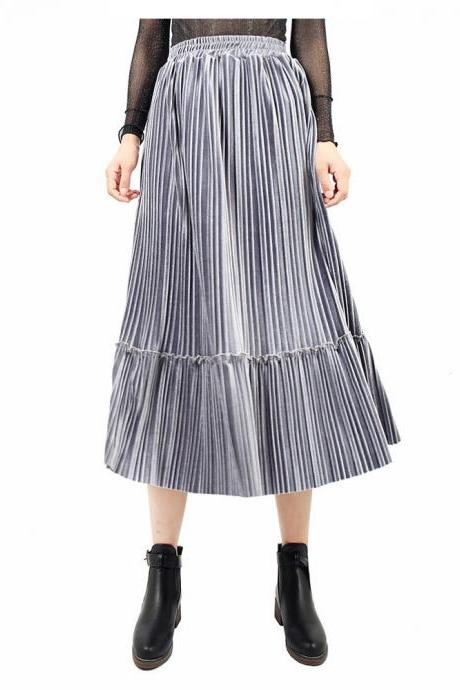 Women Velvet Pleated Skirt Autumn Winter Elastic High Waist Streetwear Below Knee Casual Midi Skirt gray