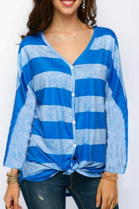 Women Striped Blouse V Neck Long Sleeve Button Work Office Casual Loose Tops Shirts blue