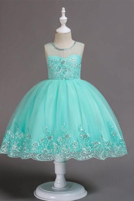 Embroidery Lace Flower Girl Dress Sleeveless Wedding Birthday Party Tutu Gown Children Clothes aqua