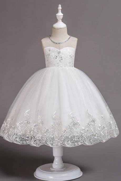 Embroidery Lace Flower Girl Dress Sleeveless Wedding Birthday Party Tutu Gown Children Clothes